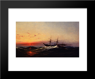 Sunset On A Rough Sea: Modern Black Framed Art Print by James Hamilton