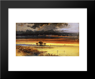 Sunset On The Jersey Flats: Modern Black Framed Art Print by James Hamilton
