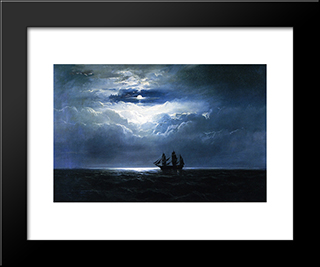 The Convict Ship T.K. Hervey: Modern Black Framed Art Print by James Hamilton