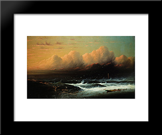 What Are The Wild Waves Saying: Modern Black Framed Art Print by James Hamilton