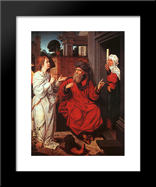 Abraham, Sara And An Angel: Modern Black Framed Art Print by Jan Provoost