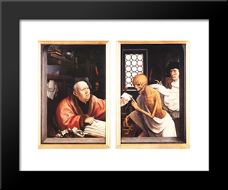 Death And The Miser: Modern Black Framed Art Print by Jan Provoost