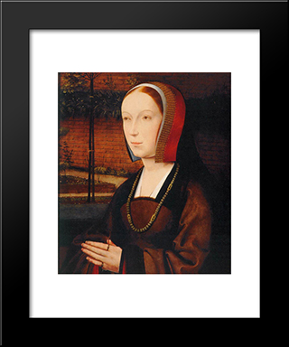 Portrait Of A Female Donor: Modern Black Framed Art Print by Jan Provoost