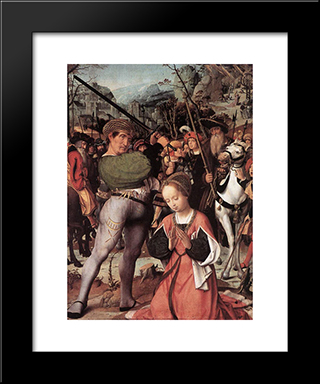 The Martyrdom Of St. Catherine: Modern Black Framed Art Print by Jan Provoost