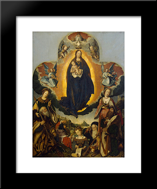 The Virgin Mary In Glory: Modern Black Framed Art Print by Jan Provoost