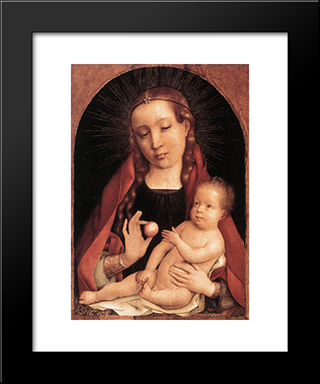 Virgin And Child: Modern Black Framed Art Print by Jan Provoost