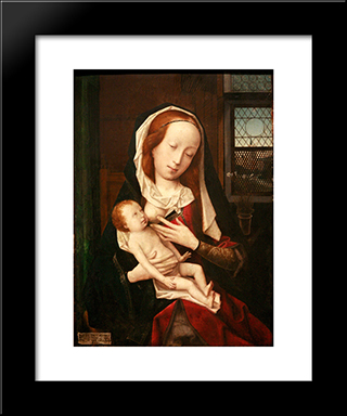 Virgin Giving Breast: Modern Black Framed Art Print by Jan Provoost