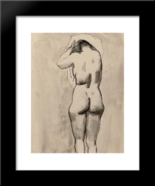 A Standing Nude: Modern Black Framed Art Print by Jan Sluyters