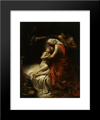 Elisha And The Son Of The Shunammite Woman: Modern Black Framed Art Print by Jan Sluyters