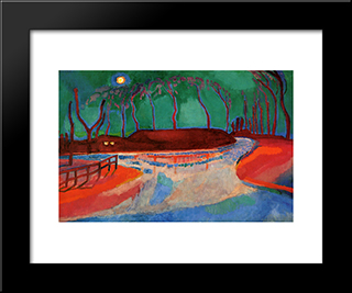 Full Moon On The Water: Modern Black Framed Art Print by Jan Sluyters