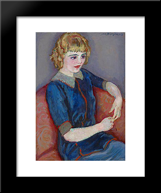 Girl At A Red Sofa: Modern Black Framed Art Print by Jan Sluyters