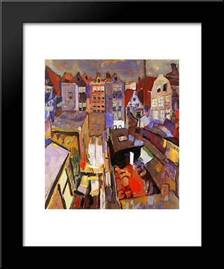 Houses In The Jordaan: Modern Black Framed Art Print by Jan Sluyters