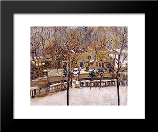 Houses In The Snow Print: Modern Black Framed Art Print by Jan Sluyters