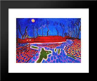 Landscape By Moonlight Ii: Modern Black Framed Art Print by Jan Sluyters