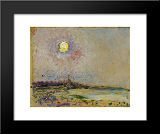 Landscape With Full Moon: Modern Black Framed Art Print by Jan Sluyters