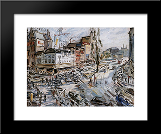Leidseplein: Modern Black Framed Art Print by Jan Sluyters
