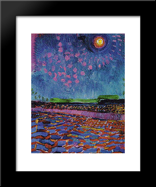 Moon Night: Modern Black Framed Art Print by Jan Sluyters