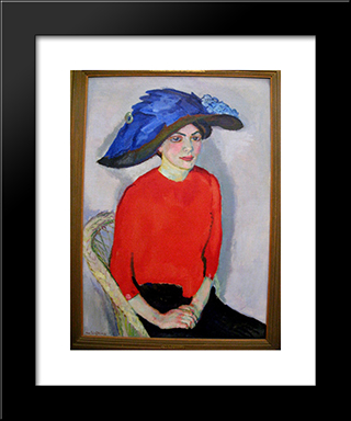 Portrait Of A Lady In Red: Modern Black Framed Art Print by Jan Sluyters