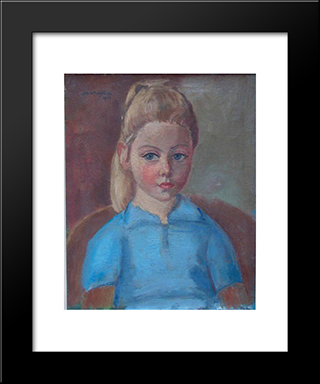 Portrait Of The Painter'S Granddaughter Anne: Modern Black Framed Art Print by Jan Sluyters