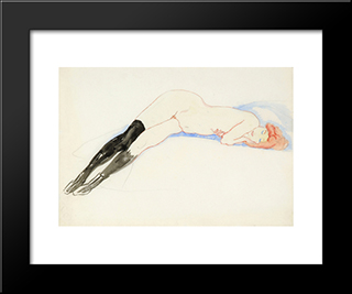 Reclining Nude With Black Stockings (Greet): Modern Black Framed Art Print by Jan Sluyters