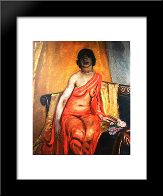 Recumbent Female Nude: Modern Black Framed Art Print by Jan Sluyters