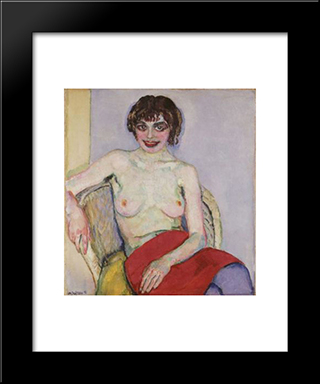 Seated Nude: Modern Black Framed Art Print by Jan Sluyters