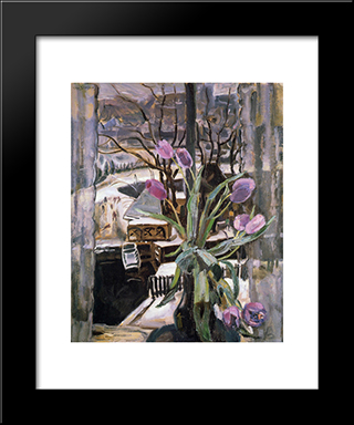 Still Life With Flowers: Modern Black Framed Art Print by Jan Sluyters