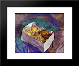 Still Life With Fruit: Modern Black Framed Art Print by Jan Sluyters