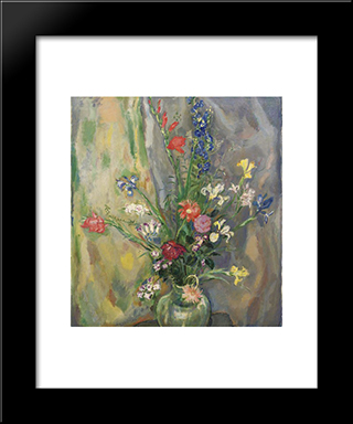 Still Life With Spring Flowers: Modern Black Framed Art Print by Jan Sluyters