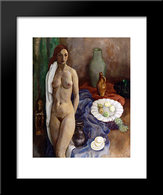 Still Life With Standing Nude: Modern Black Framed Art Print by Jan Sluyters