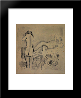 Two Nudes In Studio: Modern Black Framed Art Print by Jan Sluyters