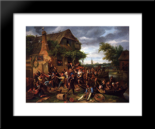 A Village Revel: Modern Black Framed Art Print by Jan Steen