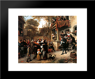 A Village Wedding: Modern Black Framed Art Print by Jan Steen