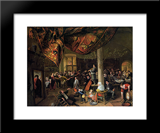 A Village Wedding Feast With Revellers And A Dancing Party: Modern Black Framed Art Print by Jan Steen