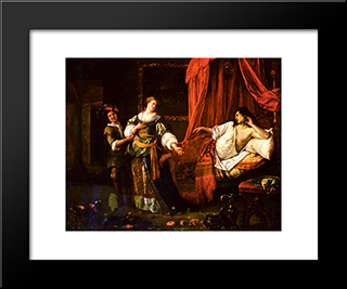 Amnon And Tamar: Modern Black Framed Art Print by Jan Steen