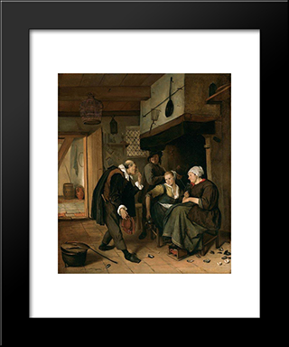 An Old To Young Girl: Modern Black Framed Art Print by Jan Steen