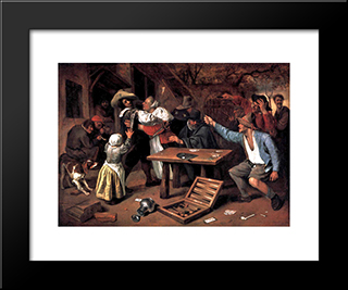 Argument Over A Card Game: Modern Black Framed Art Print by Jan Steen