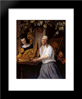 Baker Oostwaert And His Wife: Modern Black Framed Art Print by Jan Steen