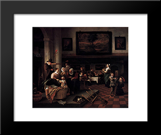 Baptism: Modern Black Framed Art Print by Jan Steen