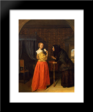 Bathsheba Receiving David S Letter: Modern Black Framed Art Print by Jan Steen