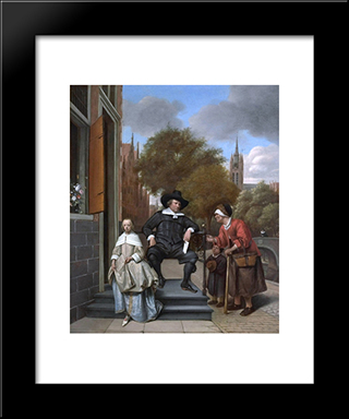 Burgher Of Delft And His Daughter: Modern Black Framed Art Print by Jan Steen