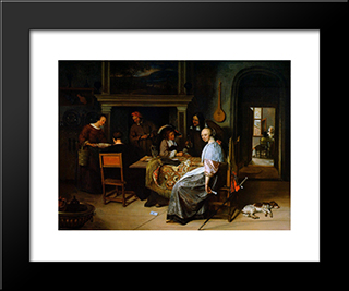Card Players: Modern Black Framed Art Print by Jan Steen
