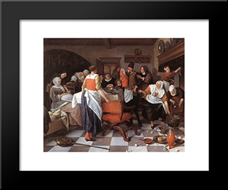 Celebrating The Birth: Modern Black Framed Art Print by Jan Steen