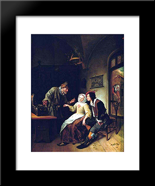 Choice Between Richness And Youth: Modern Black Framed Art Print by Jan Steen
