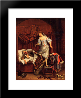 Couple In A Bedroom: Modern Black Framed Art Print by Jan Steen