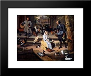 Court: Modern Black Framed Art Print by Jan Steen