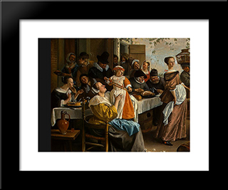 Dancing Couple: Modern Black Framed Art Print by Jan Steen
