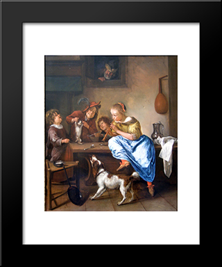 Dancing Lesson: Modern Black Framed Art Print by Jan Steen