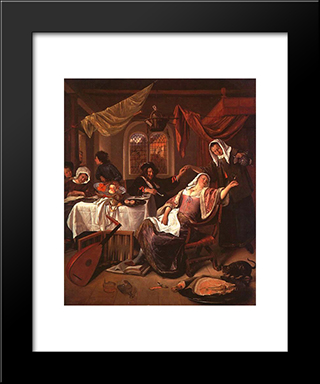 Dissolute Household: Modern Black Framed Art Print by Jan Steen