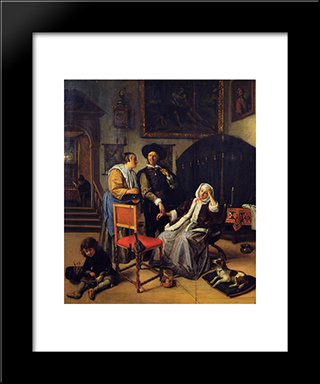 Doctor S Visit: Modern Black Framed Art Print by Jan Steen